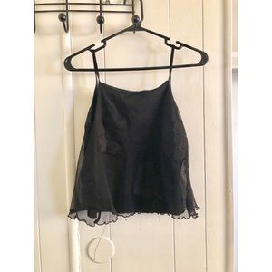 Black Foral Laced Tank Top
